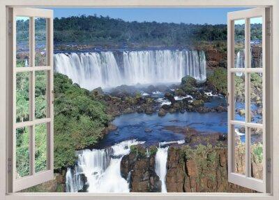 Sticker Ouvert, windoq, panoramique, vuew, Iguacu, chutes, brésil