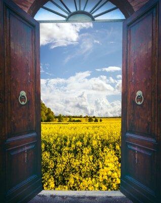 Sticker Ouvrez la porte et paysage