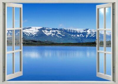 Sticker Ouvrir la fenêtre vue panoramique sur les montagnes de neige et le lac
