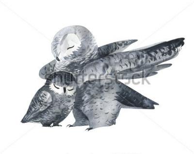 Sticker Owl et une technique d'aquarelle pour bébé. Animaux de la forêt. Illustration originale réaliste isolée sur fond blanc. Carte de fête des mères faites à la main.