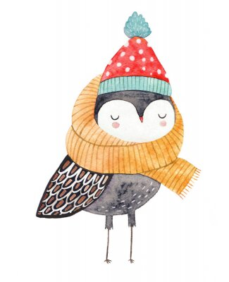Sticker owl in a scarf and hat - watercolor drawing