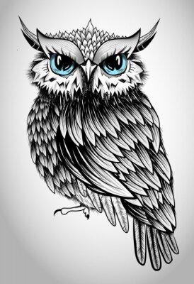 Sticker Owl Lady - belle illustration vectorielle