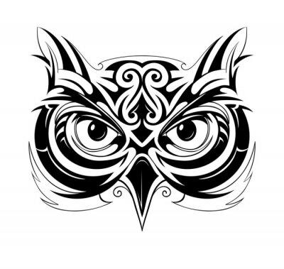 Sticker Owl tête tatouage