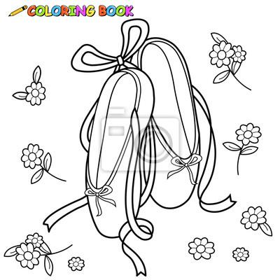 Page De Livre A Colorier De Chaussures De Ballet Autocollants Murales Decrit Chaussures De Ballet Coloration Myloview Fr