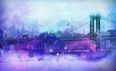 Sticker Painterly, vue, NYC, Manhattan, pont, rivière