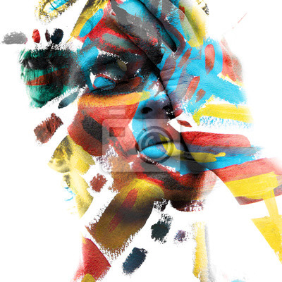 Sticker Paintography. Double exposure of an attractive male model with closed eyes and hand covering face combined with colorful hand drawn paintings