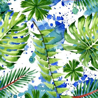 Sticker Palm beach tree leaves jungle botanical. Watercolor background illustration set. Seamless background pattern.