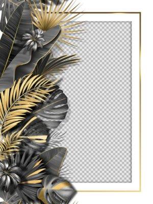 Sticker Palm leaves and luxurious frame in black gold color. Tropical leaf illustration on transparent background. Vector illustration for cover, photo frame, invitation, souvenir design.