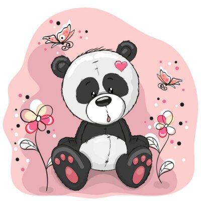 Sticker Panda avec des fleurs