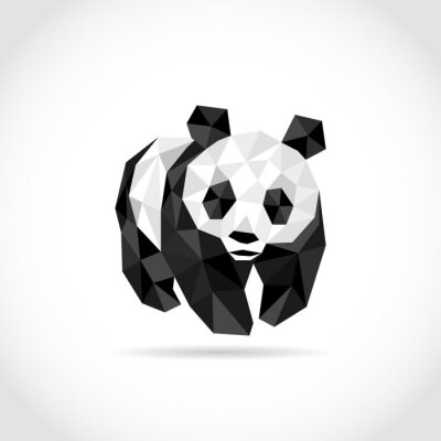 Sticker Panda en style polygone. Faible poly design en triangles