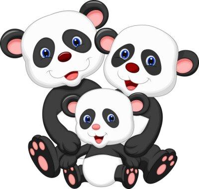 Sticker Panda ours de bande dessinée de famille