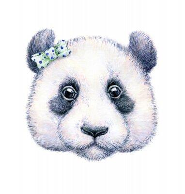 Sticker Panda sur fond blanc. Dessin à l'aquarelle. L'illustration pour enfants. Handwork