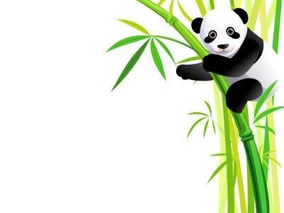 Sticker panda sur le bambou
