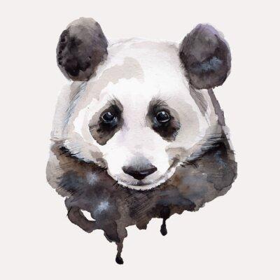 Sticker Panda.Watercolor illustration vecteur