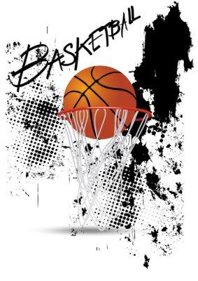Sticker panier de basket sur blanc grunge