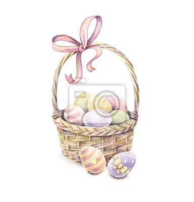 Panier de Pâques isolé sur un fond blanc. Oeufs de Pâques Couleur