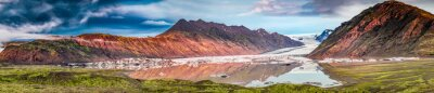 Sticker Panorama, beau, glacier, Lac, lever soleil, Islande