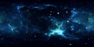 Sticker Panorama de la nébuleuse spatiale à 360 degrés, projection équirectangulaire, carte de l'environnement. Panorama sphérique HDRI. Fond de l'espace avec la nébuleuse et les étoiles