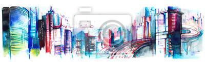 Sticker panorama de la ville