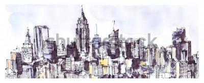 Sticker Panorama de la ville de New York. Aquarelle, graphique à l'encre. Architecture