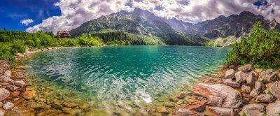 Sticker Panorama, Lac, Tatra, montagnes, Lever soleil