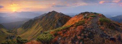 Sticker Panorama, montagnes, aube