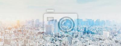 Sticker panoramic modern city skyline mix sketch effect