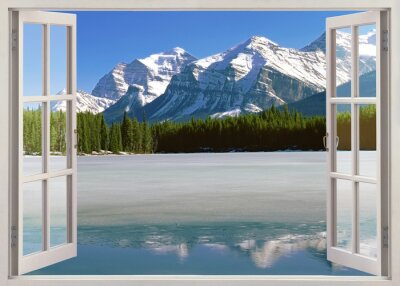 Sticker Panoramic view to Canadian Rockies Mountains from open window