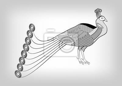 Sticker Paon Noir Blanc Stylisé Décoratif Dessin Isolé Oiseau
