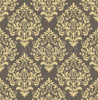 Sticker Papier peint dans le style baroque. Fond transparent Ornement floral doré et gris. Motif graphique pour tissu, papier peint, emballage. Ornement de fleur damassé orné