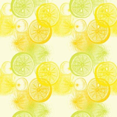 Sticker Papier peint seamless modèle avec des oranges dessinées à la main. Drawi