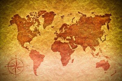 Sticker papier vintage avec carte du monde