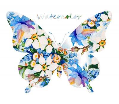 Sticker Papillon coloré sur fond blanc