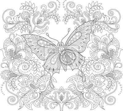 Papillon Et Ornement Floral Coloriage Antistress Pour Adultes Autocollants Murales Ajoure Monochrome Ethnique Myloview Fr