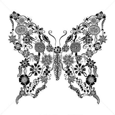 Sticker Papillon fleuri décoratif griffonnage floral, éléments de monochrome ornement floral pour la conception de scrapbook, invitation ou cartes de voeux
