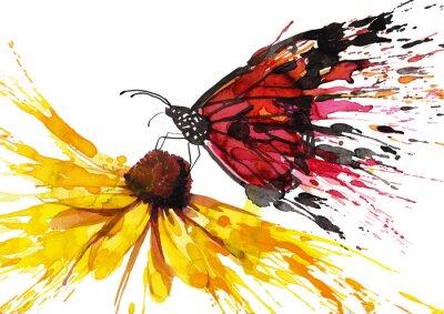 Sticker Papillon sur la fleur