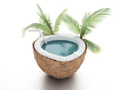 Sticker paradis de noix de coco. concept de l'été sur fond blanc