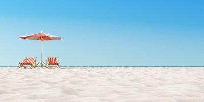 Sticker Parasol de plage avec des chaises sur le sable. concept de vacances d'été. Rendu 3d