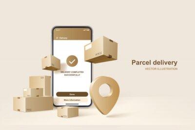 Sticker Parcel delivery. Concept for fast delivery service. Vector illustration