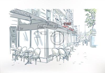 Sticker paris cafe outdoor sketch vector watercolor art