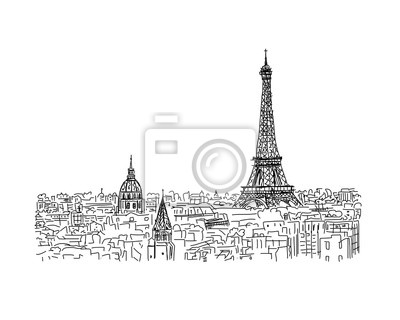 Sticker Paris,cityscape with Eifel Tower. Sketch for your design