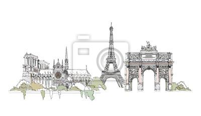Sticker Paris, collection croquis: Notre Dame, l'Arc et la Tour Eiffel