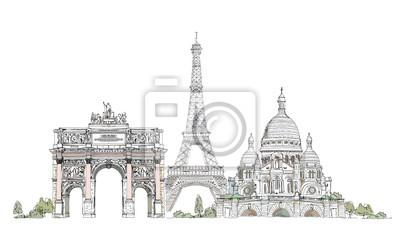 Sticker Paris, collection croquis: Notre Dame, l'Arc et Luevre