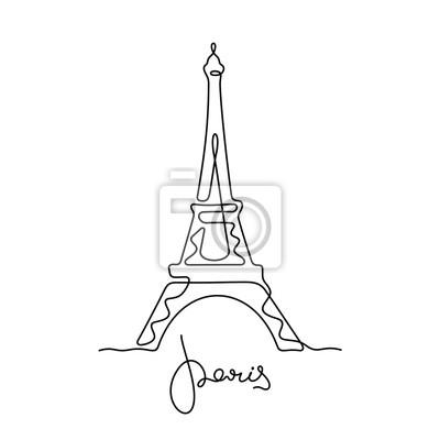 Sticker Paris, Eiffel Tower continuous line vector illustration