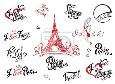 Sticker Paris. France. Ensemble d'éléments pour la conception. Croquis de la tour Eiffel. Lettrage inspirant. Modèles d'étiquettes. Modèle de fille.