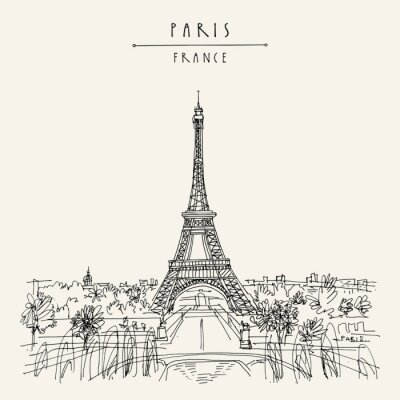 Sticker  Paris, France, Europe. Eiffel Tower. Artistic hand drawing in retro style. European travel sketch. Vintage hand drawn touristic postcard, poster or book illustration in vector