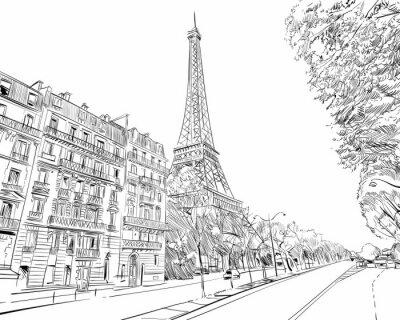 Sticker Paris, France. Illustration vectorielle dessinés à la main