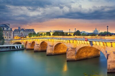 Sticker Paris. Image of the Pont Neuf, the oldest standing bridge across the river Seine in Paris, France.