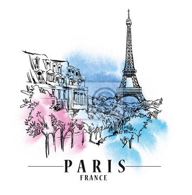 Sticker Paris vector illustration.
