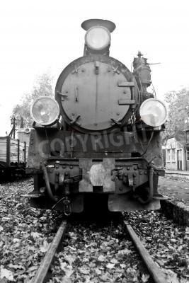 Sticker partie du vieux train à vapeur en noir et blanc